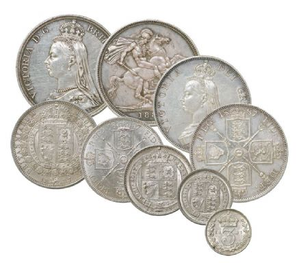 1887-1893 Queen Victoria Silver Set  in EF